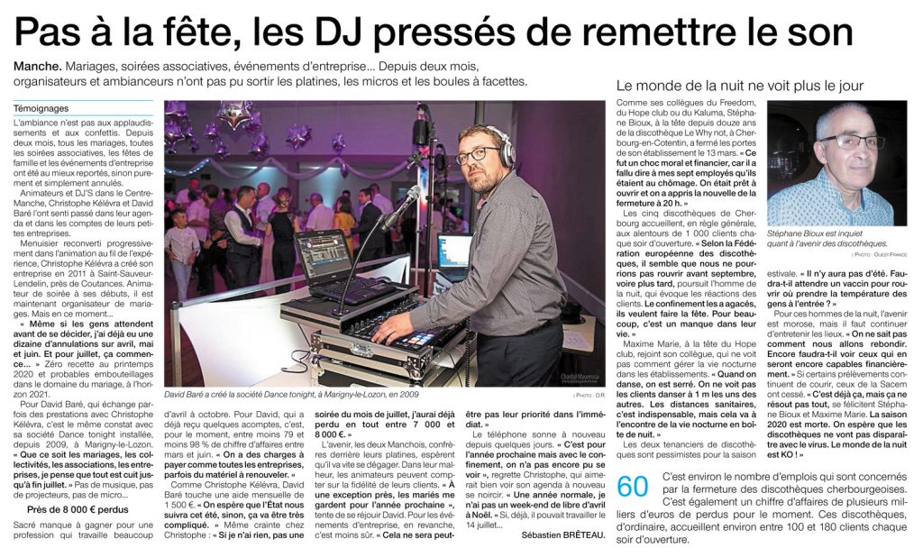 Dance Tonight dans le journal